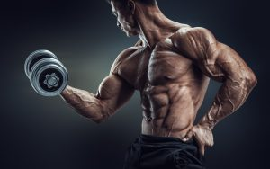 Bodybuilding man with dumbbell
