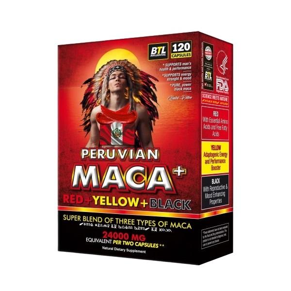 Organic Peruvian Red+Yellow+Black Maca 120 capsules